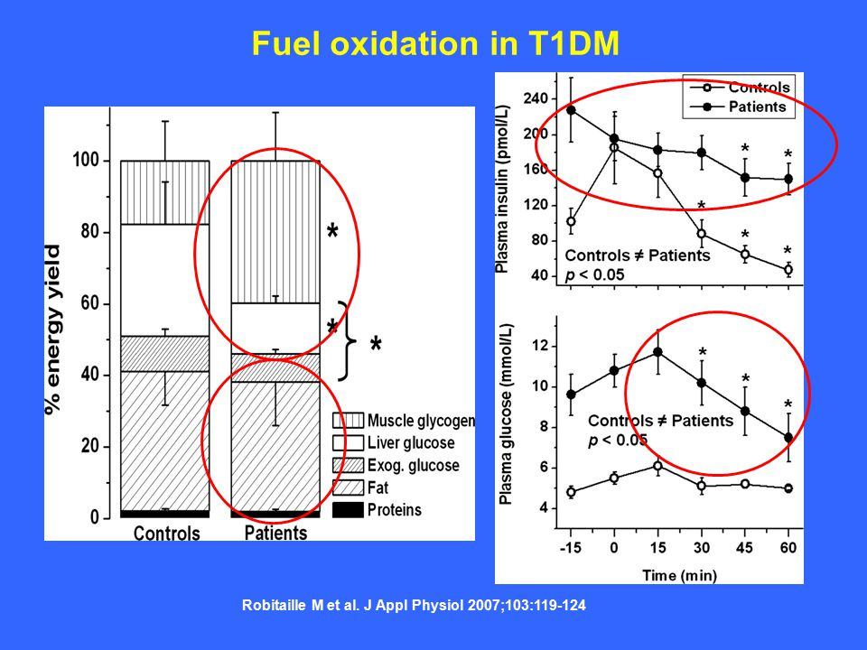 Robitaille M et al. J Appl Physiol 2007;103:119-124 Fuel oxidation in T1DM