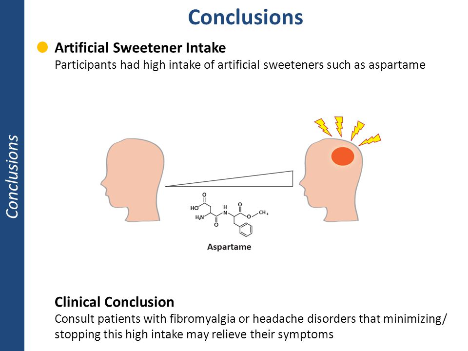 Conclusions Clinical Conclusion Consult patients with fibromyalgia or headache disorders that minimizing/ stopping this high intake may relieve their