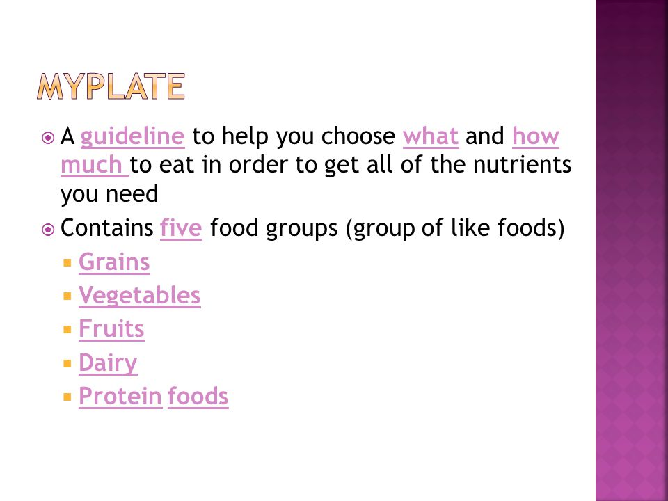  A guideline to help you choose what and how much to eat in order to get all of the nutrients you need  Contains five food groups (group of like foods)  Grains  Vegetables  Fruits  Dairy  Protein foods