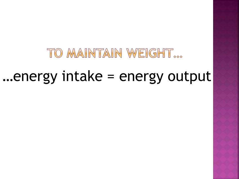 …energy intake = energy output
