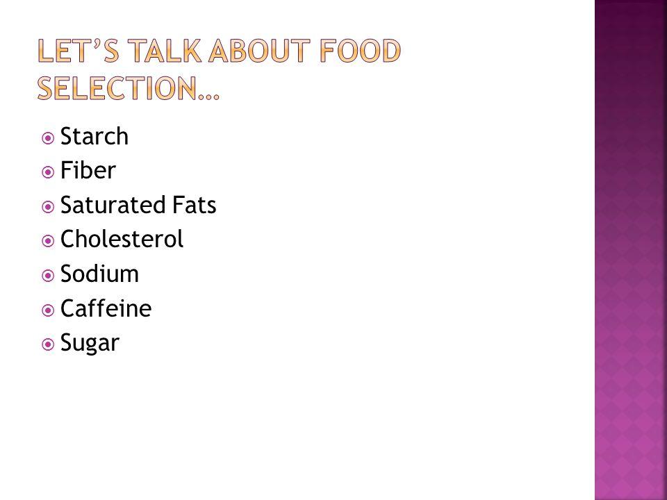  Starch  Fiber  Saturated Fats  Cholesterol  Sodium  Caffeine  Sugar
