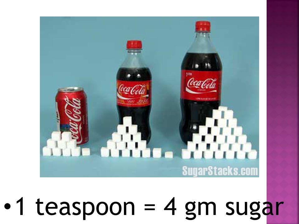 1 teaspoon = 4 gm sugar