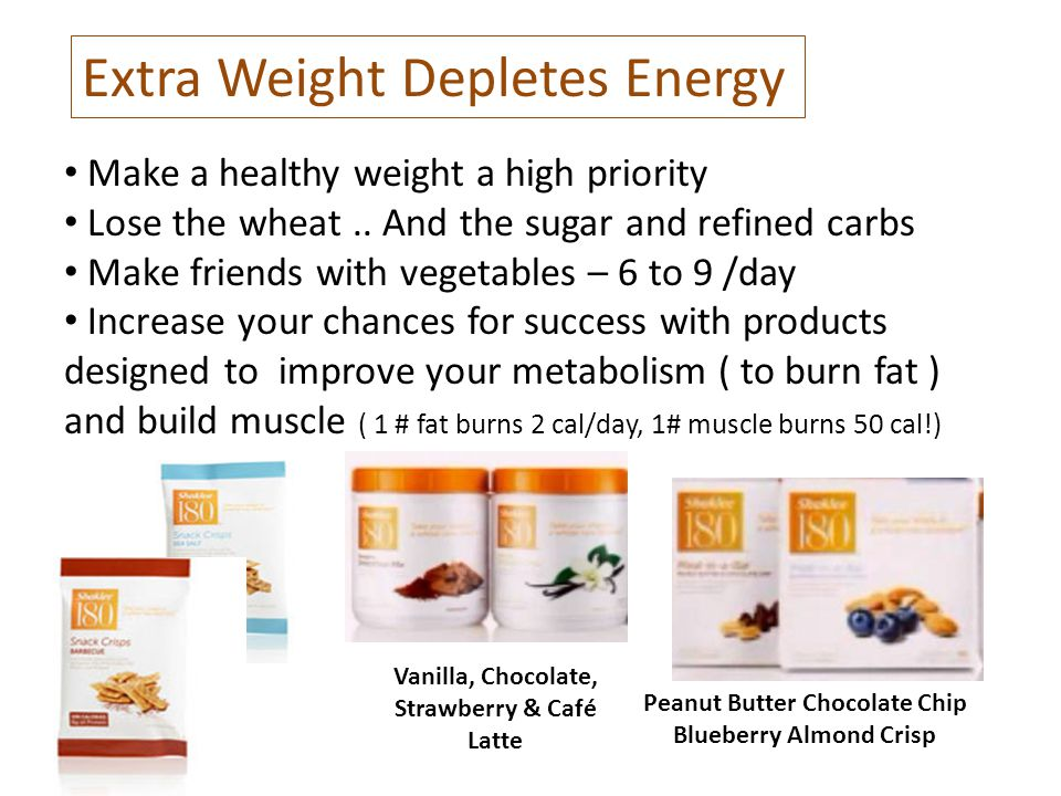 Extra Weight Depletes Energy Make a healthy weight a high priority Lose the wheat..