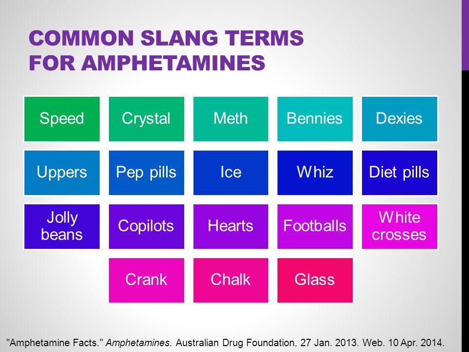 COMMON SLANG TERMS FOR AMPHETAMINES SpeedCrystalMethBenniesDexies UppersPep pillsIceWhizDiet pills Jolly beans CopilotsHeartsFootballs White crosses C
