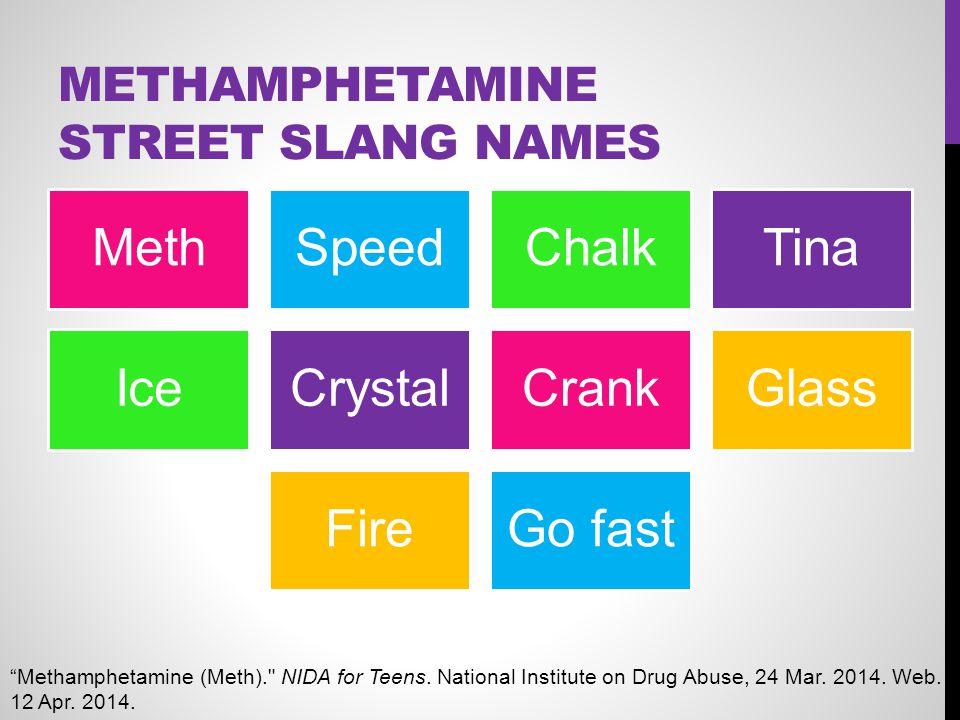 "METHAMPHETAMINE STREET SLANG NAMES MethSpeedChalkTina IceCrystalCrankGlass FireGo fast ""Methamphetamine (Meth)."