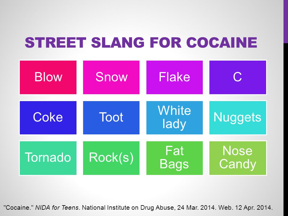 STREET SLANG FOR COCAINE BlowSnowFlakeC CokeToot White lady Nuggets TornadoRock(s) Fat Bags Nose Candy