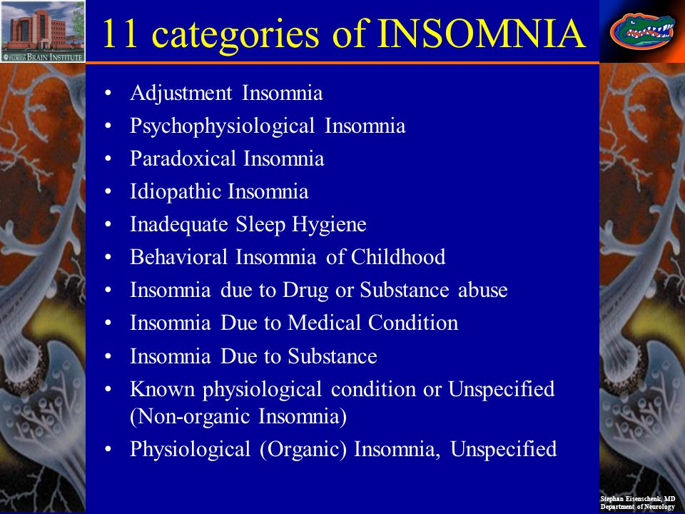 Stephan Eisenschenk, MD Department of Neurology 11 categories of INSOMNIA Adjustment Insomnia Psychophysiological Insomnia Paradoxical Insomnia Idiopathic Insomnia Inadequate Sleep Hygiene Behavioral Insomnia of Childhood Insomnia due to Drug or Substance abuse Insomnia Due to Medical Condition Insomnia Due to Substance Known physiological condition or Unspecified (Non-organic Insomnia) Physiological (Organic) Insomnia, Unspecified