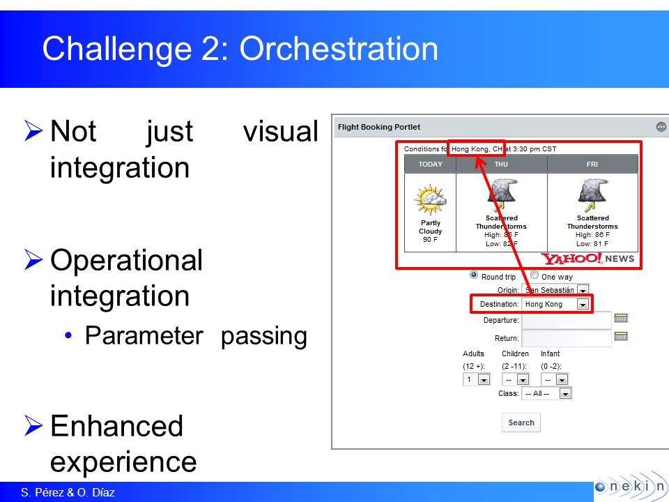 S. Pérez & O. Díaz Challenge 2: Orchestration  Not just visual integration  Operational integration Parameter passing  Enhanced experience