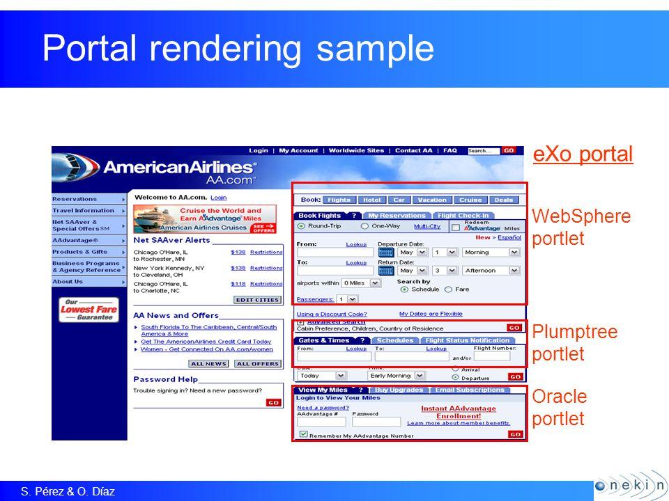 S. Pérez & O. Díaz Portal rendering sample WebSphere portlet Plumptree portlet Oracle portlet eXo portal