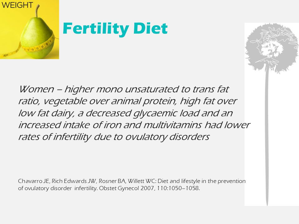 Fertility Diet Women – higher mono unsaturated to trans fat ratio, vegetable over animal protein, high fat over low fat dairy, a decreased glycaemic load and an increased intake of iron and multivitamins had lower rates of infertility due to ovulatory disorders Chavarro JE, Rich Edwards JW, Rosner BA, Willett WC: Diet and lifestyle in the prevention of ovulatory disorder infertility.