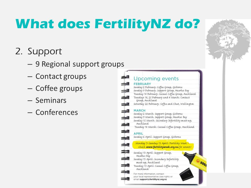 What does FertilityNZ do? 2. Support – 9 Regional support groups – Contact groups – Coffee groups – Seminars – Conferences