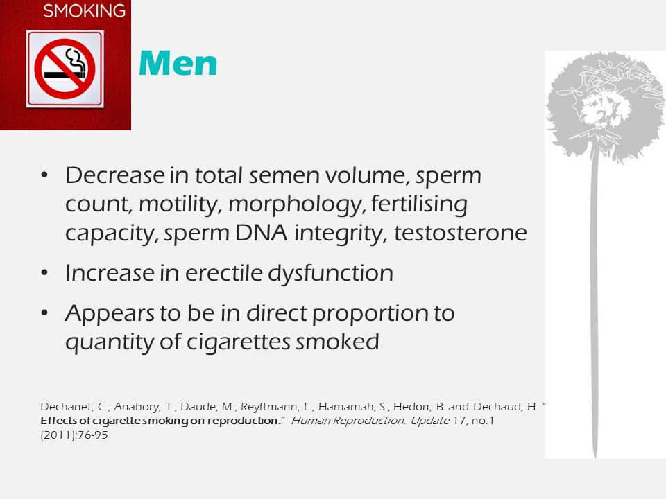 Men Decrease in total semen volume, sperm count, motility, morphology, fertilising capacity, sperm DNA integrity, testosterone Increase in erectile dysfunction Appears to be in direct proportion to quantity of cigarettes smoked Dechanet, C., Anahory, T., Daude, M., Reyftmann, L., Hamamah, S., Hedon, B.