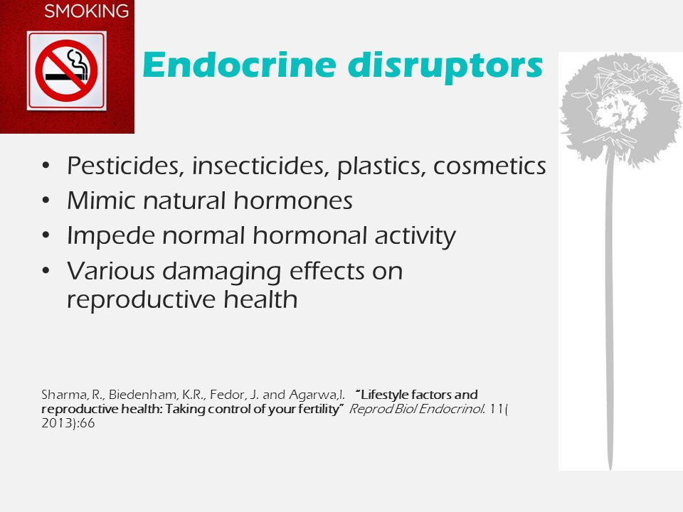 Endocrine disruptors Pesticides, insecticides, plastics, cosmetics Mimic natural hormones Impede normal hormonal activity Various damaging effects on