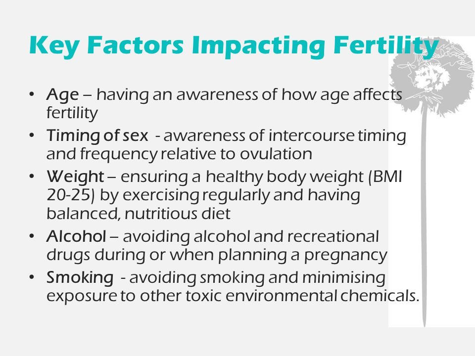 Key Factors Impacting Fertility Age – having an awareness of how age affects fertility Timing of sex - awareness of intercourse timing and frequency relative to ovulation Weight – ensuring a healthy body weight (BMI 20-25) by exercising regularly and having balanced, nutritious diet Alcohol – avoiding alcohol and recreational drugs during or when planning a pregnancy Smoking - avoiding smoking and minimising exposure to other toxic environmental chemicals.