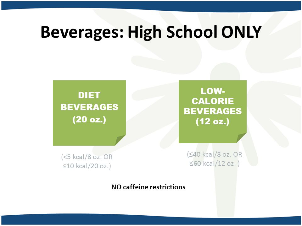 Beverages: High School ONLY DIET BEVERAGES (20 oz.) (<5 kcal/8 oz.