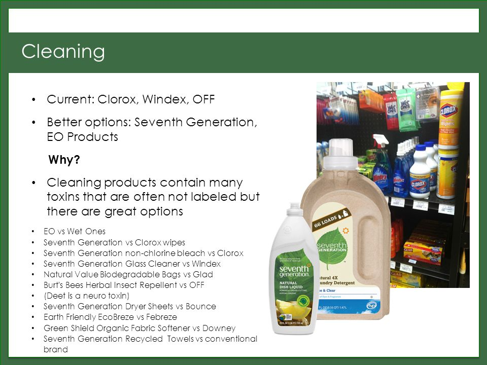Cleaning Current: Clorox, Windex, OFF Better options: Seventh Generation, EO Products Why.