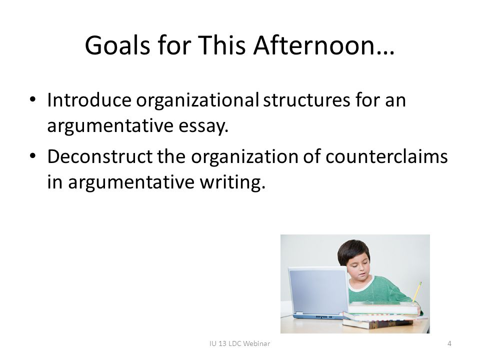 Goals for This Afternoon… Introduce organizational structures for an argumentative essay.