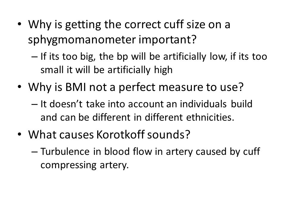 Why is getting the correct cuff size on a sphygmomanometer important.