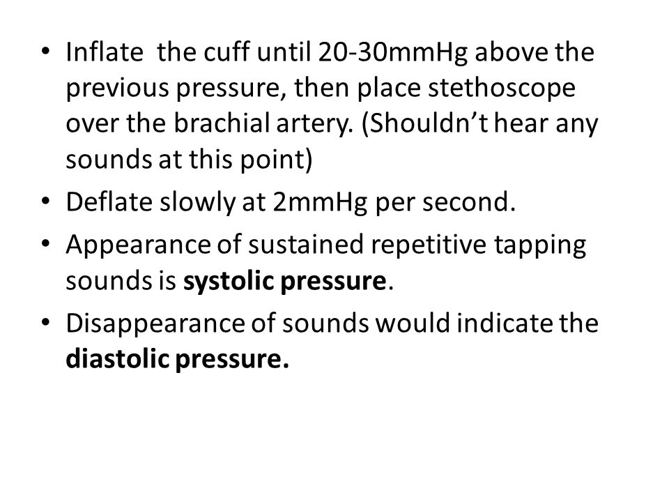 Video This video is useful, they skip the step of inflating with palpating the pulse but as a rough guide it can help.
