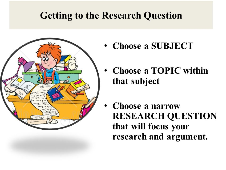 Getting to the Research Question Choose a SUBJECT Choose a TOPIC within that subject Choose a narrow RESEARCH QUESTION that will focus your research and argument.