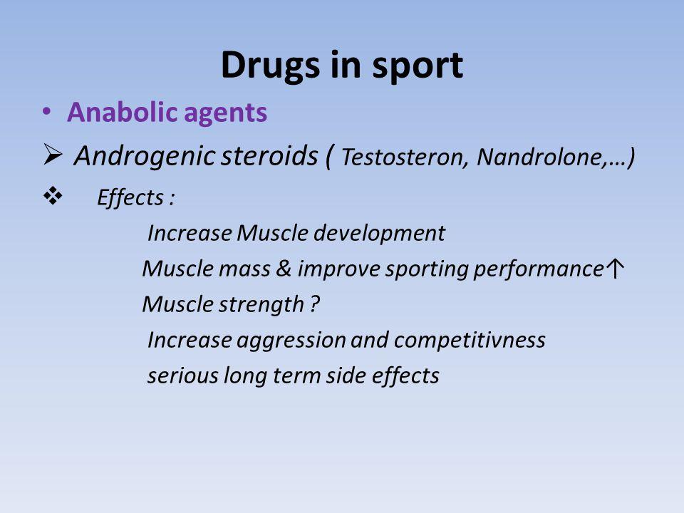 Drugs in sport Other Anabolic Agents :  Clenbuterol: ( Anabolic androgenic + agonist action on β2 adrenoceptors)  selective androgen receptor modulators (SARMs) : aryl propionamid analogs Bicyclic hydantoein analogs  tibolone ( estrogen activity +weak androgenic activity)