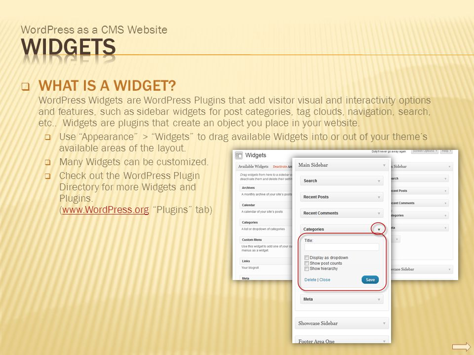 WordPress as a CMS Website  WHAT IS A WIDGET? WordPress Widgets are WordPress Plugins that add visitor visual and interactivity options and features,