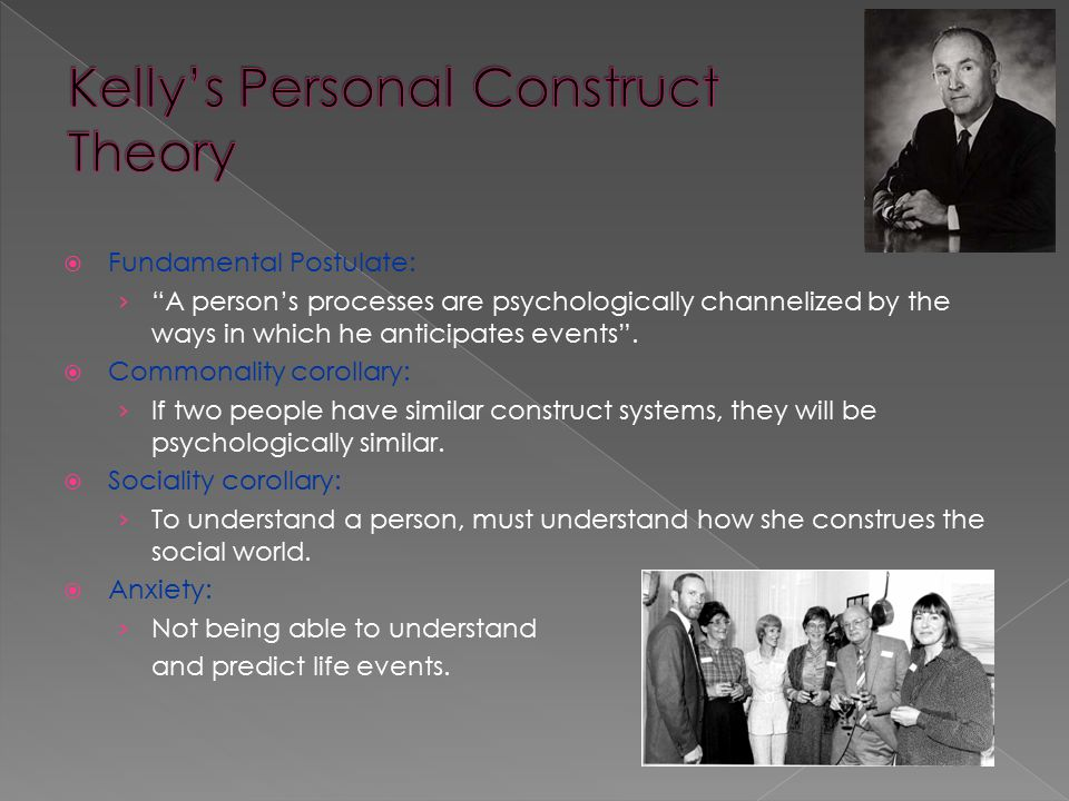 """ Fundamental Postulate: › """"A person's processes are psychologically channelized by the ways in which he anticipates events"""".  Commonality corollary:"""