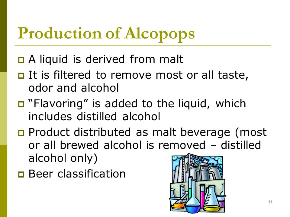 11 Production of Alcopops  A liquid is derived from malt  It is filtered to remove most or all taste, odor and alcohol  Flavoring is added to the liquid, which includes distilled alcohol  Product distributed as malt beverage (most or all brewed alcohol is removed – distilled alcohol only)  Beer classification