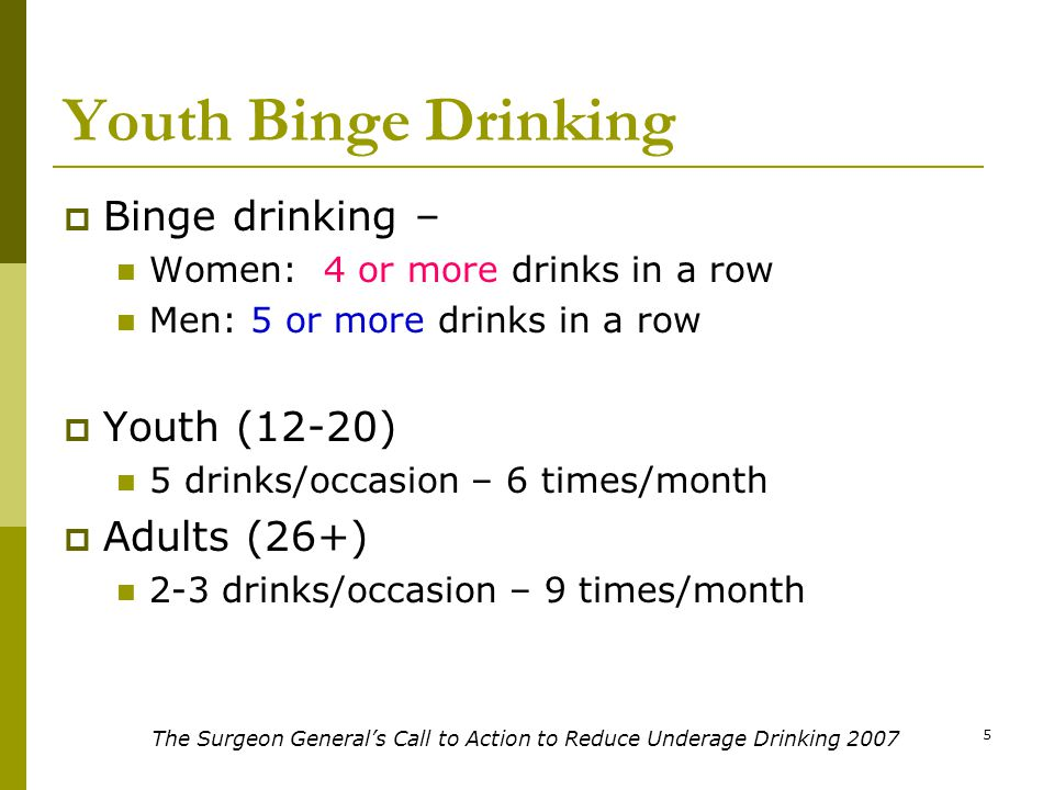 5 Youth Binge Drinking  Binge drinking – Women: 4 or more drinks in a row Men: 5 or more drinks in a row  Youth (12-20) 5 drinks/occasion – 6 times/month  Adults (26+) 2-3 drinks/occasion – 9 times/month The Surgeon General's Call to Action to Reduce Underage Drinking 2007