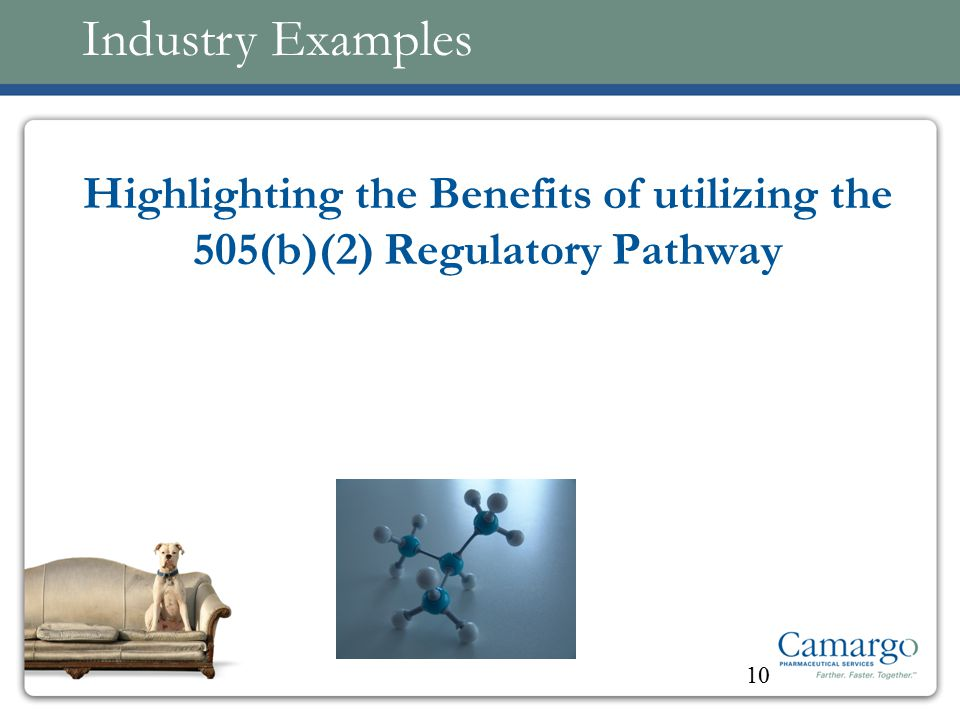 Highlighting the Benefits of utilizing the 505(b)(2) Regulatory Pathway 10 Industry Examples