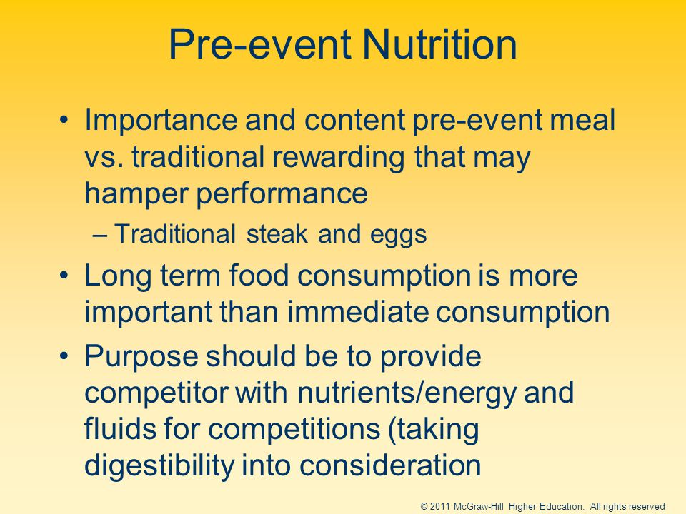 Pre-event Nutrition Importance and content pre-event meal vs.