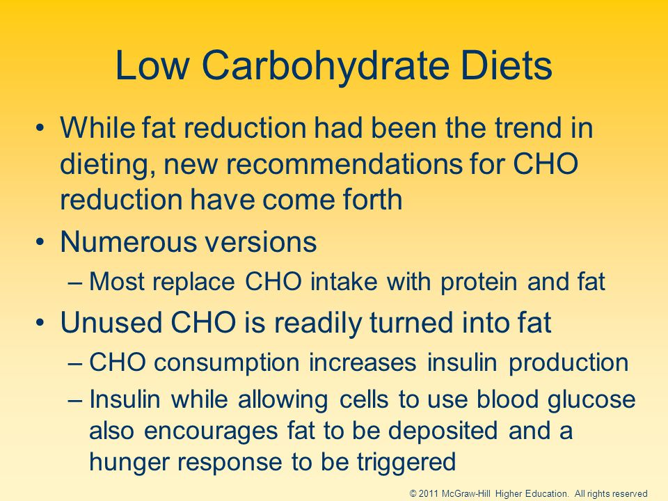 Low Carbohydrate Diets While fat reduction had been the trend in dieting, new recommendations for CHO reduction have come forth Numerous versions –Most replace CHO intake with protein and fat Unused CHO is readily turned into fat –CHO consumption increases insulin production –Insulin while allowing cells to use blood glucose also encourages fat to be deposited and a hunger response to be triggered © 2011 McGraw-Hill Higher Education.