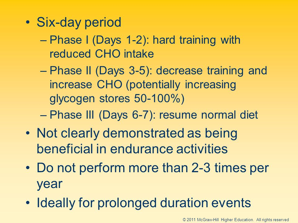 Six-day period –Phase I (Days 1-2): hard training with reduced CHO intake –Phase II (Days 3-5): decrease training and increase CHO (potentially increasing glycogen stores 50-100%) –Phase III (Days 6-7): resume normal diet Not clearly demonstrated as being beneficial in endurance activities Do not perform more than 2-3 times per year Ideally for prolonged duration events © 2011 McGraw-Hill Higher Education.