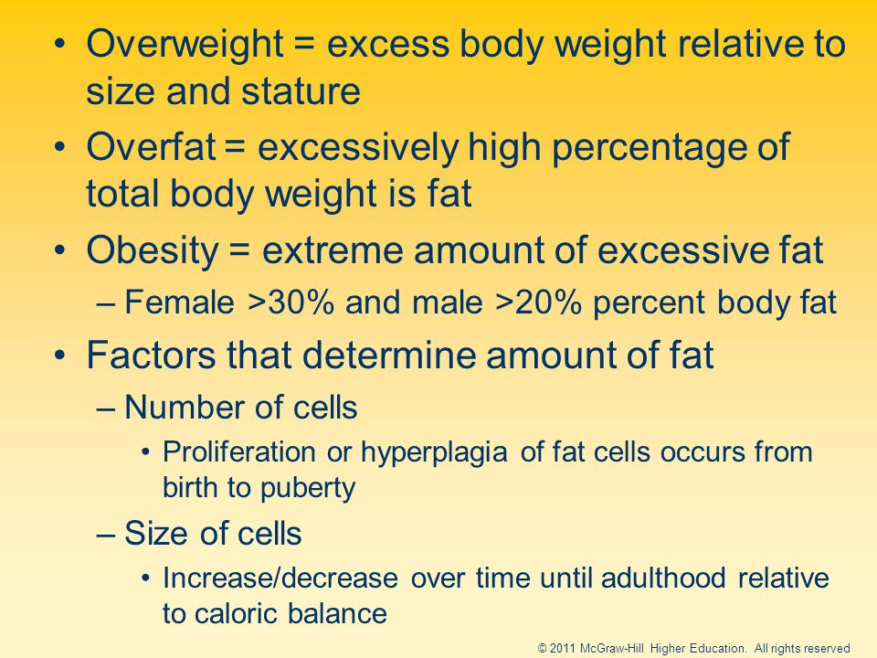 Overweight = excess body weight relative to size and stature Overfat = excessively high percentage of total body weight is fat Obesity = extreme amount of excessive fat –Female >30% and male >20% percent body fat Factors that determine amount of fat –Number of cells Proliferation or hyperplagia of fat cells occurs from birth to puberty –Size of cells Increase/decrease over time until adulthood relative to caloric balance © 2011 McGraw-Hill Higher Education.