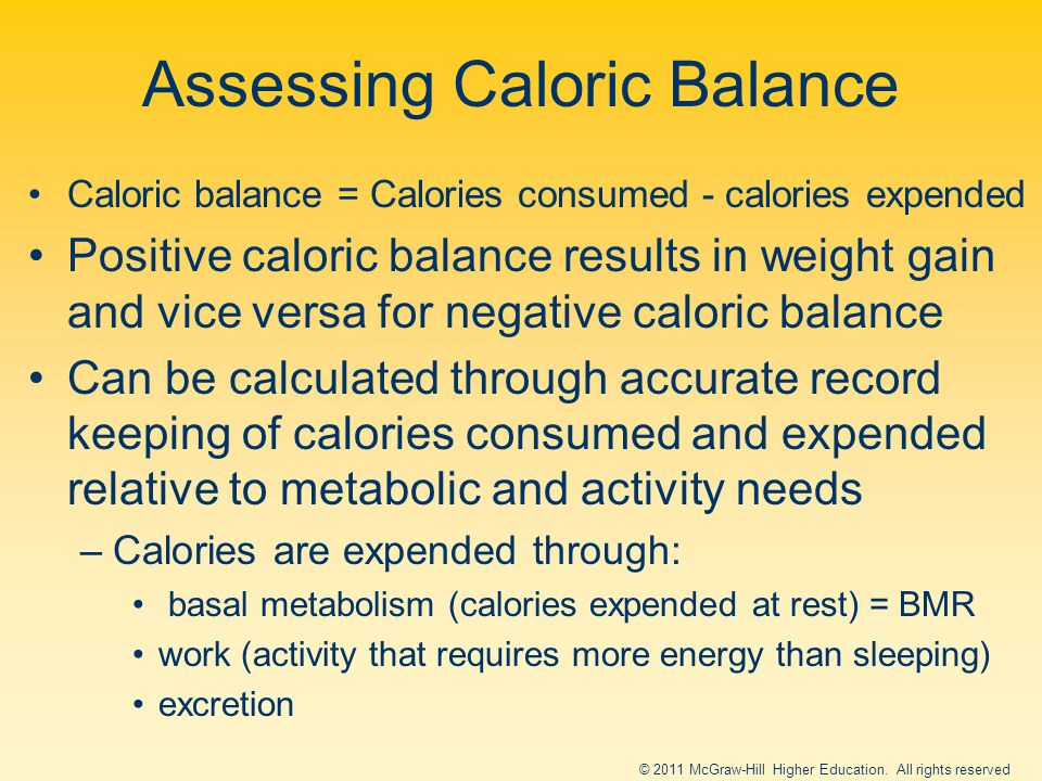 Assessing Caloric Balance Caloric balance = Calories consumed - calories expended Positive caloric balance results in weight gain and vice versa for negative caloric balance Can be calculated through accurate record keeping of calories consumed and expended relative to metabolic and activity needs –Calories are expended through: basal metabolism (calories expended at rest) = BMR work (activity that requires more energy than sleeping) excretion © 2011 McGraw-Hill Higher Education.