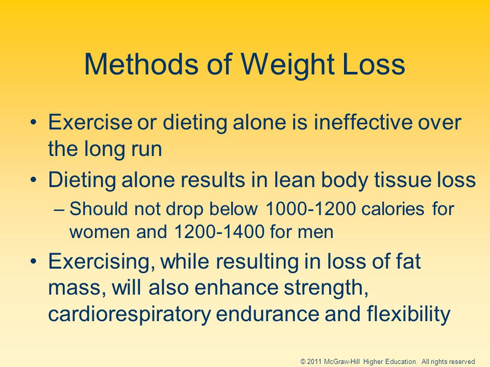 Methods of Weight Loss Exercise or dieting alone is ineffective over the long run Dieting alone results in lean body tissue loss –Should not drop below 1000-1200 calories for women and 1200-1400 for men Exercising, while resulting in loss of fat mass, will also enhance strength, cardiorespiratory endurance and flexibility © 2011 McGraw-Hill Higher Education.