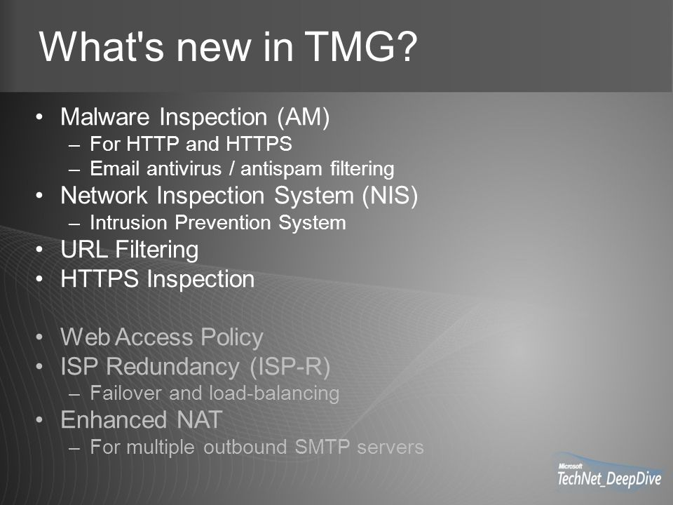 What s new in TMG.