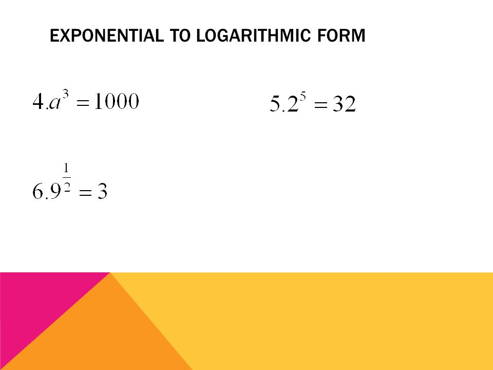 EXPONENTIAL TO LOGARITHMIC FORM