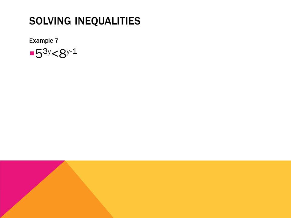 SOLVING INEQUALITIES Example 7  5 3y <8 y-1