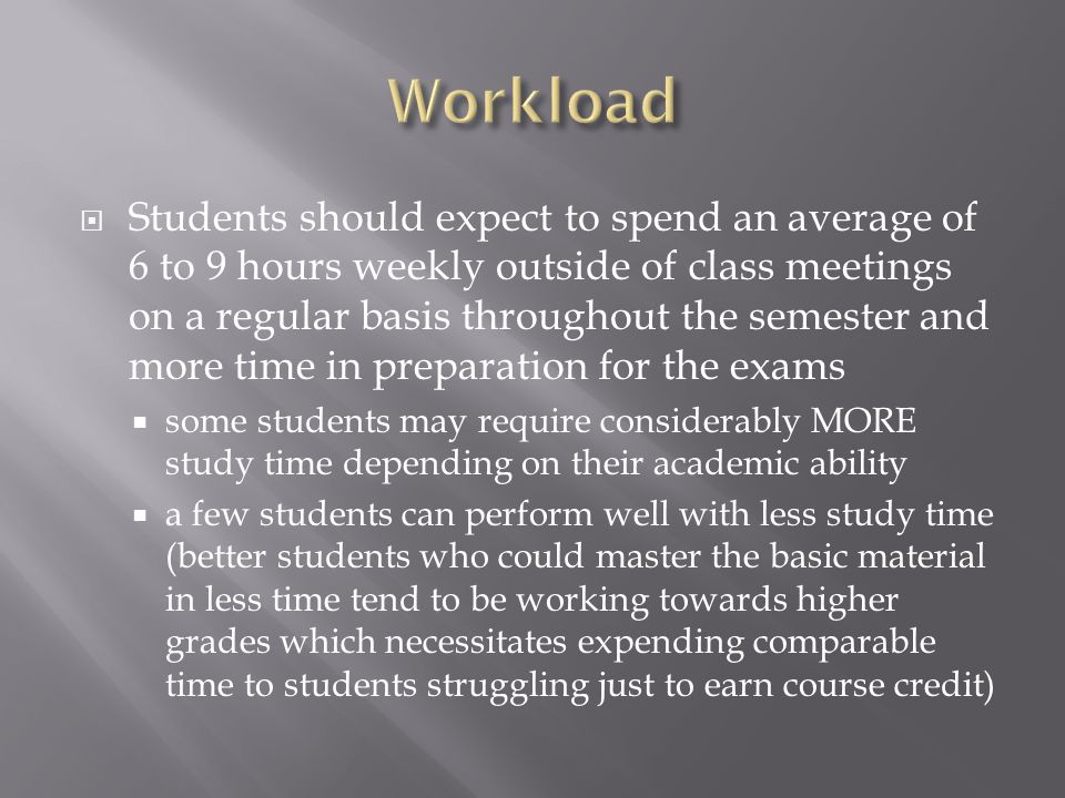  Students should expect to spend an average of 6 to 9 hours weekly outside of class meetings on a regular basis throughout the semester and more time