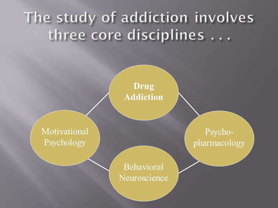 Motivational Psychology Behavioral Neuroscience Psycho- pharmacology Drug Addiction
