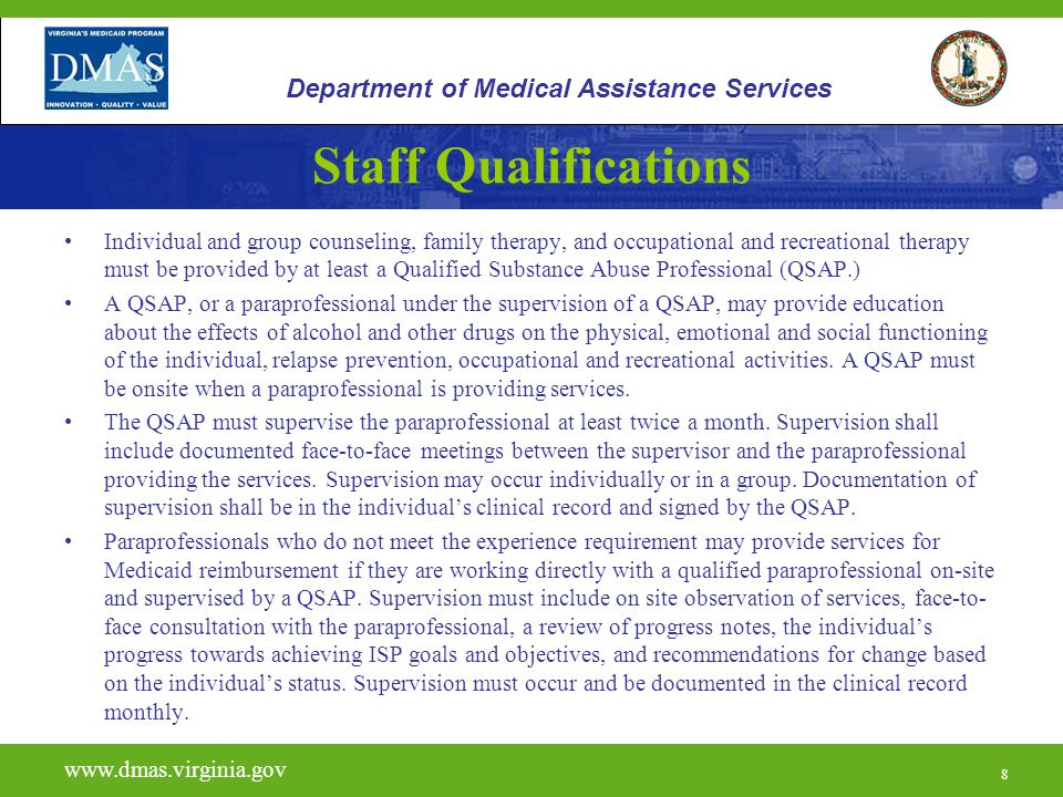 9 H0020 www.dmas.virginia.gov 9 Department of Medical Assistance Services Required Activities