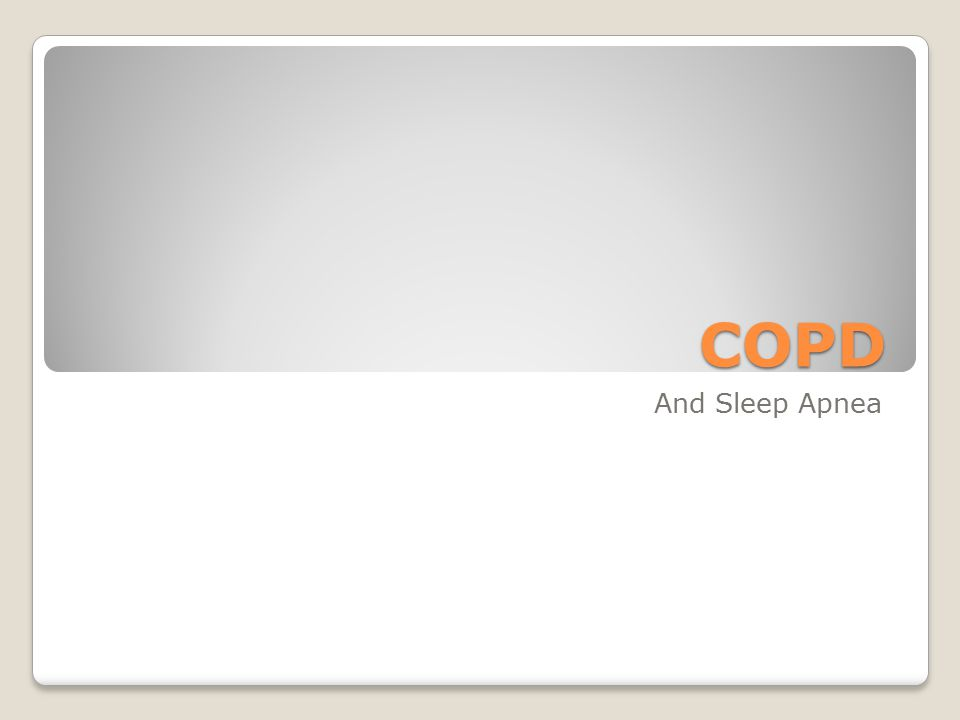 COPD And Sleep Apnea