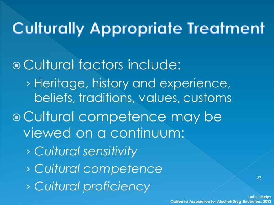  Cultural factors include: › Heritage, history and experience, beliefs, traditions, values, customs  Cultural competence may be viewed on a continuu