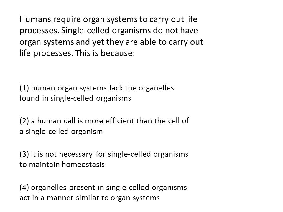Humans require organ systems to carry out life processes. Single-celled organisms do not have organ systems and yet they are able to carry out life pr