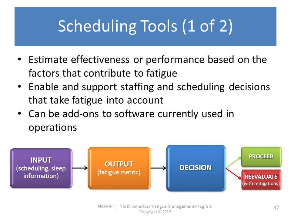 NAFMP | North American Fatigue Management Program Copyright © 2012 37 Scheduling Tools (1 of 2) Estimate effectiveness or performance based on the factors that contribute to fatigue Enable and support staffing and scheduling decisions that take fatigue into account Can be add-ons to software currently used in operations INPUT INPUT (scheduling, sleep information) OUTPUT OUTPUT (fatigue metric) DECISION PROCEED REEVALUATE REEVALUATE (with mitigations)