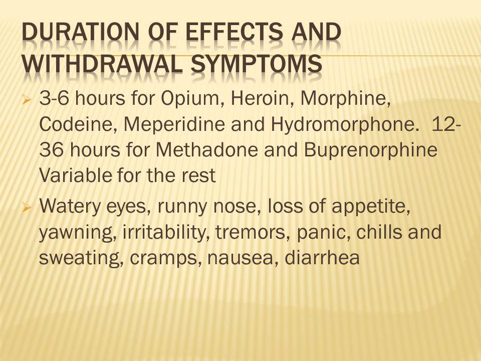 3-6 hours for Opium, Heroin, Morphine, Codeine, Meperidine and Hydromorphone.