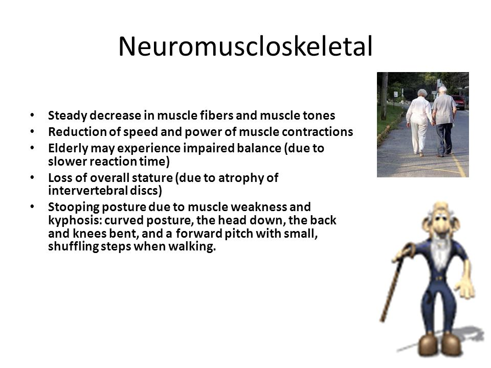 10 The loss of bone density and mass causes a compression of the bones especially in the vertebral area creating a slight decrease in height Osteoporosis due to bone demineralization causing bones break more easily A loss of cartilage makes painful joint complaints more common and contribute to a decrease range of movement and mobility