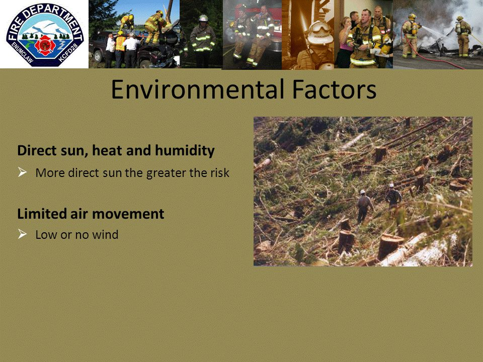 Environmental Factors Direct sun, heat and humidity  More direct sun the greater the risk Limited air movement  Low or no wind