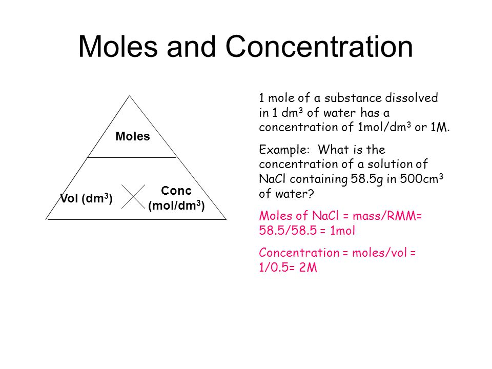Moles and Gases Remember that 1 mole of ANY gas at room temperature and pressure is 22400cm 3 or 22.4dm 3 or 22.4l. Example: what volume of gas would